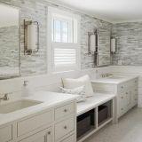 Белая мраморный мозаика для плитки стены ванной комнаты