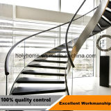 カスタム現代木の手すりのまっすぐなステアケースのガラス板の鋼鉄ステアケース