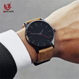ムーブメント様式メンズ軍のスポーツの腕時計の革水晶Watch#V412