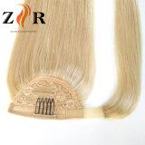 금발 색깔 사람의 모발 묶은 머리 머리 연장