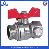 Asa de aluminio de la válvula de bola de latón roscado (YD-1006)