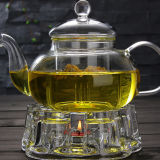 Teapot de vidro da Quente-Venda 600ml com o copo de vidro do calefator e do vidro