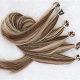 ヨーロッパのRemyのブロンドの平らな先端の人間の毛髪の拡張