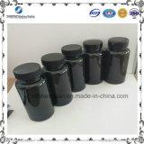 botella farmacéutica plástica del animal doméstico negro de la medicina 150ml con el tapón de tuerca