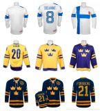20명의 Henrik Sedin 21 피터 Forsberg 팀 스웨덴 Iihf 8 Teemu Salanne 팀 핀란드 관리 2014 올림픽 Mens 여자의 아이 백색 노란 까만 파란 하키 저어지