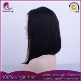 Nuevo estilo de cabello virgen chino recta mediano de encaje frontal peluca