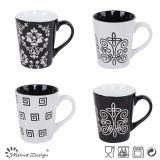 matrice per serigrafia della tazza di ceramica in bianco e nero 12oz