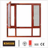 Grano di legno della finestra classica di alluminio della stoffa per tendine per il progetto dell'hotel della villa