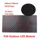 Los pixeles a todo color al aire libre 16*8 del módulo 320*160m m de la visualización de LED P20 para la pista al aire libre de la puerta de P20 RGB deslumbran la pantalla de visualización de color