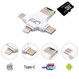 4 en 1 Tipo-c/relámpago/el lector de tarjetas micro micro del SD del lector de tarjetas de memoria de USB/USB 2.0 para el programa de lectura androide de iPad/iPhone 7plus 6s5s OTG