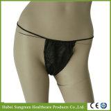G-Cadena negra no tejida disponible, T-Back para las mujeres