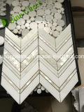 カラーラの白い大理石のモザイク、自然な材料、石造りのモザイク・タイル