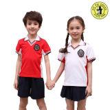 Logotipo bordado personalizado Kids uniforme da escola primária