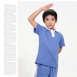 100%年の綿の青い小学校の均一ポロTシャツおよびズボン