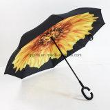 De hete Verkoop paste de Dubbele Omgekeerde Paraplu van de Vorm van de Laag C Handvat aan