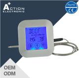 Термометр квадратного зонда цифров экрана касания нержавеющий для кухни с отметчиком времени