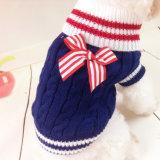 Produits d'animal familier de marin de qualité tricotant des chandails de crabot de Bowknot