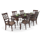 椅子が付いている純木の家具のダイニングテーブル