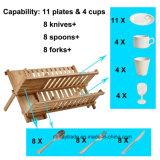 Palero de bambú plegable del utensilio de la tenencia del estante de plato 2-Tier