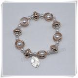 La plastica variopinta poco costosa di vendita calda borda il braccialetto del rosario, il braccialetto cattolico (IO-CB169/174)