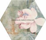 Здоровая 200*230mm впрыснутая плитка пола полигона углов цветка лотоса 6 керамическая