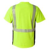 Lle magliette riflesse di alto verde di visibilità di cotone 100%