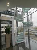 Escaleras espirales modulares de la escalera de aluminio con la pisada del vidrio de la helada