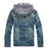 Casual Wear Men Cotton Denim Jacket com impressão personalizada