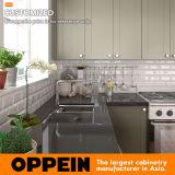 Dos gabinetes de madeira brancos americanos do abanador do estilo de Oppein gabinete de cozinha em forma de u pequeno do PVC (OP17-PVC06)