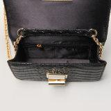 Crocodile Pattern PU Black Rotary Buckle Handbag (A049)