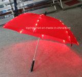 屋外雨肋骨のLEDライトが付いているまっすぐなギフトの傘