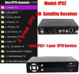 IPTV Box Satellite Receiver IPS2 com 1 ano Europa Arabic IPTV a Package Subscription 1300+ Canais DVB-S2 Receptor IP-S2