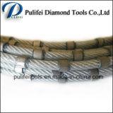 O fio do diamante viu que o fio de borracha do revestimento plástico dos grânulos viram