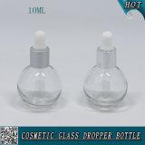 Frasco de vidro transparente Shaped oval 10ml do suco do frasco E do conta-gotas do petróleo essencial