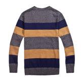 100%Cotton V-Neck Striped Knit Men Cardigan Knitwear mit Button