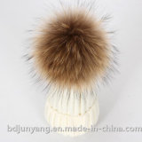 毛皮の球が付いている美しく暖かい帽子の帽子