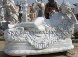Het snijden van het Marmeren Beeldhouwwerk van het Standbeeld van de Steen voor de Decoratie van de Tuin (sy-X1183)