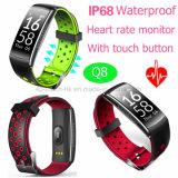 Seguimiento de la Fitness Impermeable IP68 pulsera Bluetooth inteligente Q8