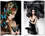極度のセクシーな女の子デザイン居間のキャンバスおよび木の印刷装飾的な折るスクリーン部屋ディバイダXの3パネル