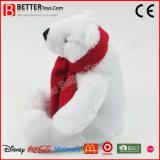 스카프에 있는 연약한 장난감 박제 동물 북극 곰