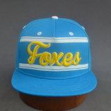 5パネルの綿織物の3D刺繍が付いている平らな縁の急な回復の帽子