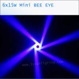 15wx6 RGBW 작은 꿀벌 눈 이동하는 맨 위 빛
