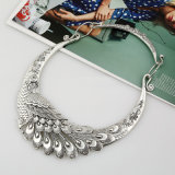 Cerchio in lega di zinco del collo del pavone splendido, collana d'argento Necklet