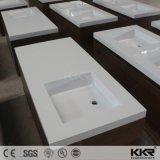 現代白い石造りの樹脂のキャビネット手の洗面器
