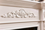 Escultura de madeira branca natural da bordadura da cornija de lareira da chaminé que cinzela a chaminé