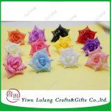 공장 직접 도매 다중 색깔 인공적인 공단 로즈 꽃 헤드
