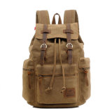 Daypacksを、コンピュータのラップトップ袋ハイキングする、型のキャンバスの革バックパック男女兼用の偶然のリュックサックの学生かばんBookbag