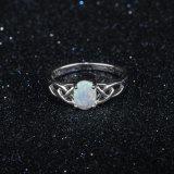 만든 단백석 반지 925 은 형식 금 다이아몬드 반지 보석