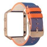 Padrão colorido faixa de relógio em pele genuína com a estrutura para Fitbit Blaze