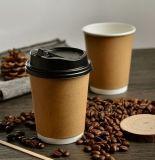 Personalizar el logotipo de mayorista Imprimir doble pared simple/doble pared de vasos de papel Kraft rizado